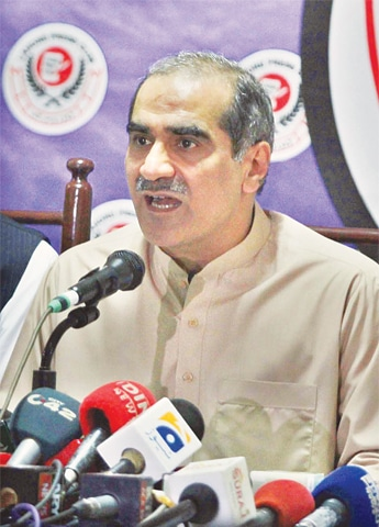 FORMER railways minister Khwaja Saad Rafique speaking at the press conference.—APP