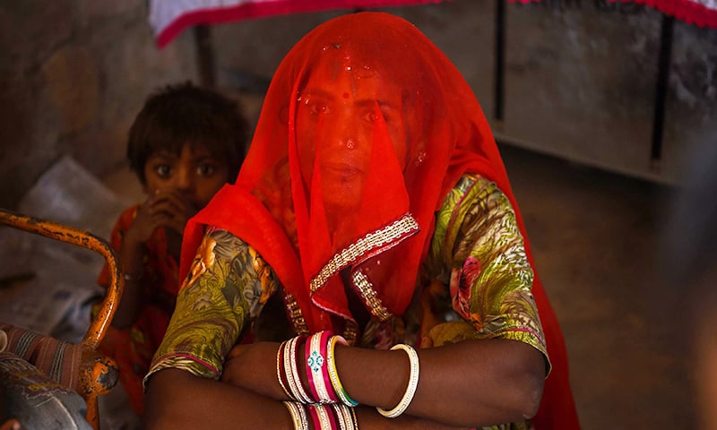 Pakistani national Meema, 30, living in an unauthorised settlement for Pakistani Hindus in Jodhpur in India's western state of Rajasthan.─AFP