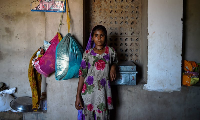 Pakistani girl Mirchi, 12, living in an unauthorised settlement for Pakistani Hindus in Jodhpur in India's western state of Rajasthan.─AFP