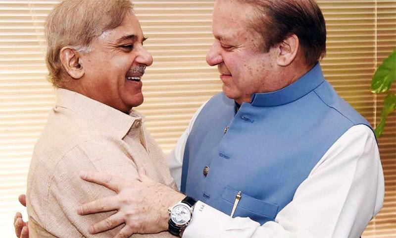 Former prime minister Nawaz Sharif (right) and Punjab Chief Minister Shahbaz Sharif (left) embrace after the Supreme Court announced its verdict in the Panama Papers case on April 20.   — File