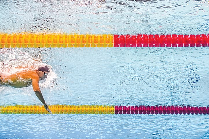 BUDAPEST: Italy's Gregorio Paltrinieri competes in the men's 1500m freestyle final at the FINA World Championships.—AFP