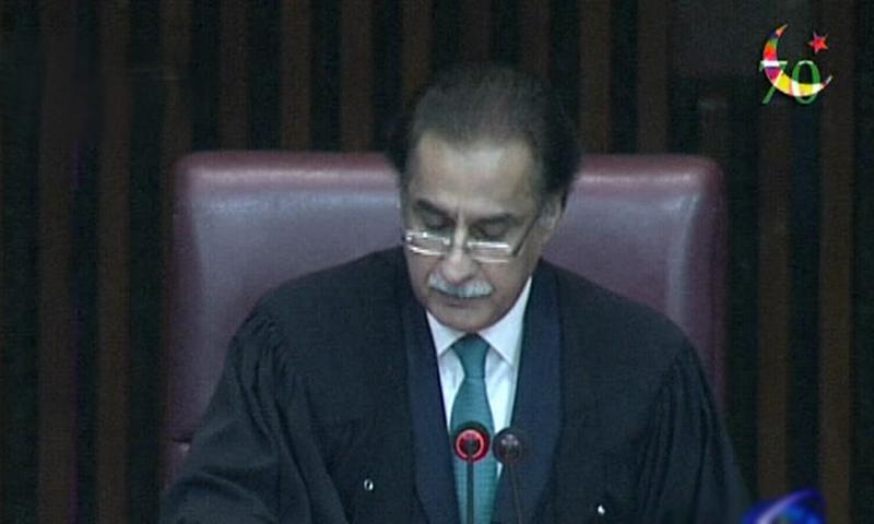 Ayaz Sadiq supervises NA session.