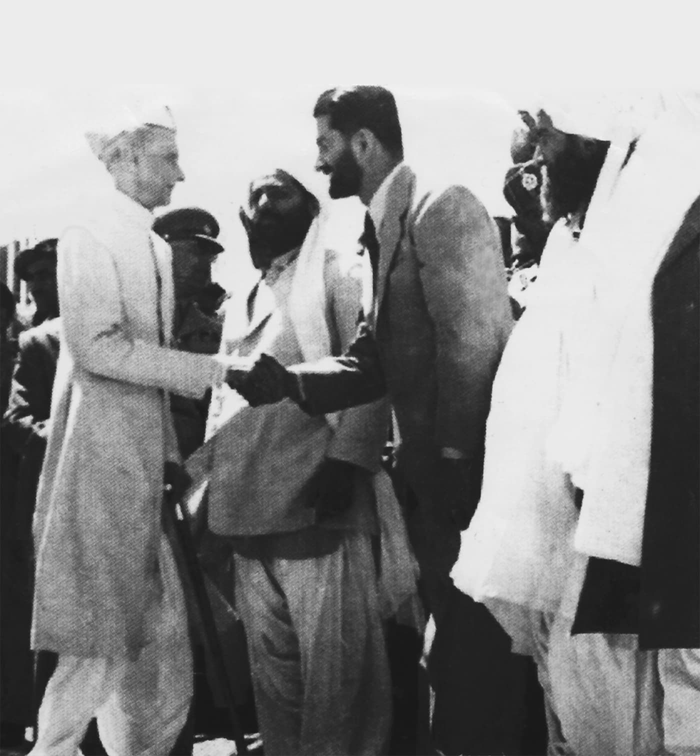 Quaid-i-Azam Mohammad Ali Jinnah is welcomed by Nawab Akbar Bugti and prominent Baloch tribal leaders at the Royal Durbar in Sibi, on February 11, 1948. — Courtesy Sherbaz Mazari Archives