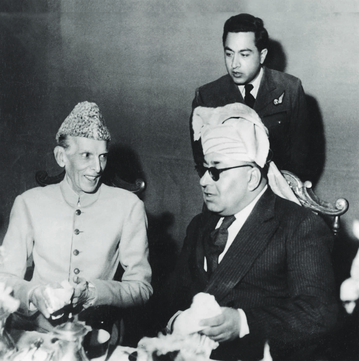 Quaid-i-Azam Mohammad Ali Jinnah and Mir Ahmad Yar Khan, the Khan of Kalat, on October 15, 1945. — Courtesy Khan of Kalat Family Archives
