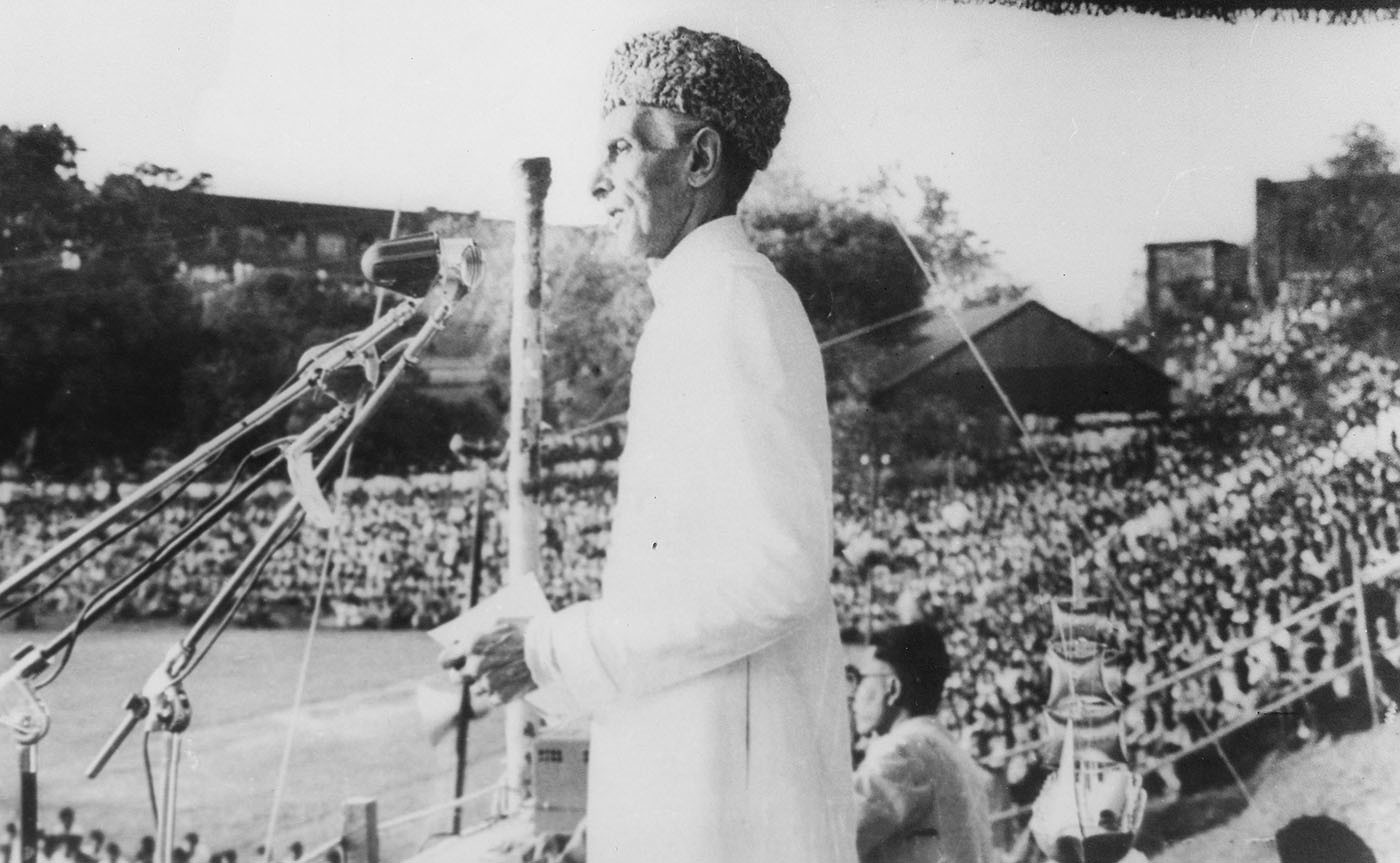 Quaid-i-Azam Mohammad Ali Jinnah addresses a mammoth rally at Lahore's University Stadium on October 30, 1947. — Courtesy National Archives Islamabad