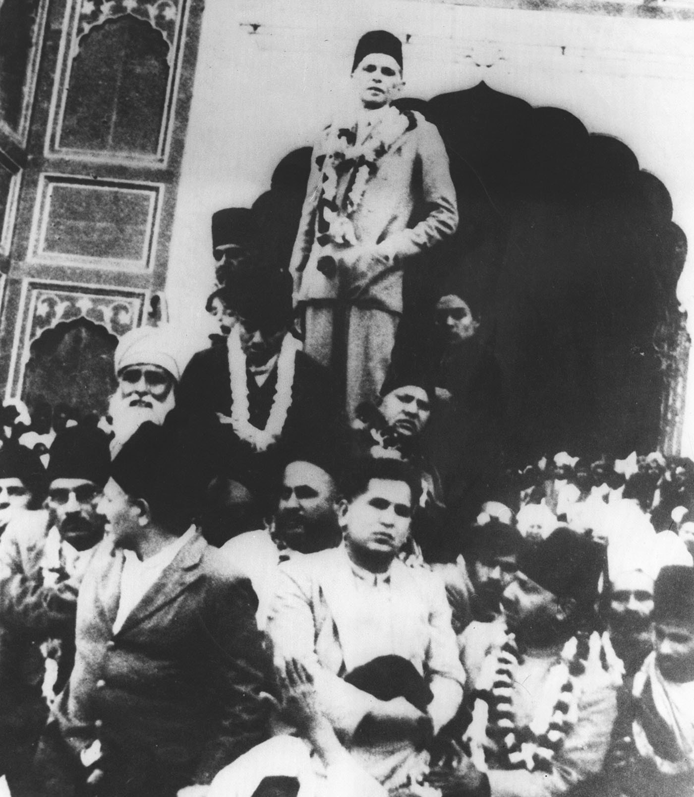 Quaid-i-Azam Mohammad Ali Jinnah campaigns at the Badshahi Mosque during the 1936-37 provincial elections. — Courtesy National Archives Islamabad