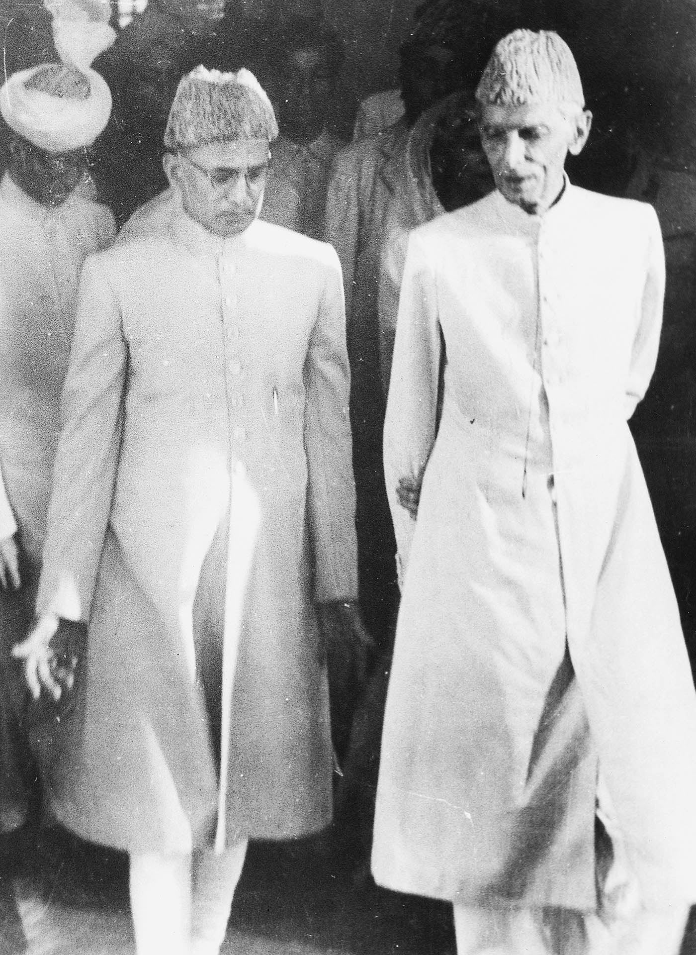 Quaid-i-Azam Mohammad Ali Jinnah inaugurates the State Bank of Pakistan in Karachi on July 1, 1948. He is accompanied by Zahid Hussain, the first Governor of the State Bank. — Courtesy National Archives Islamabad