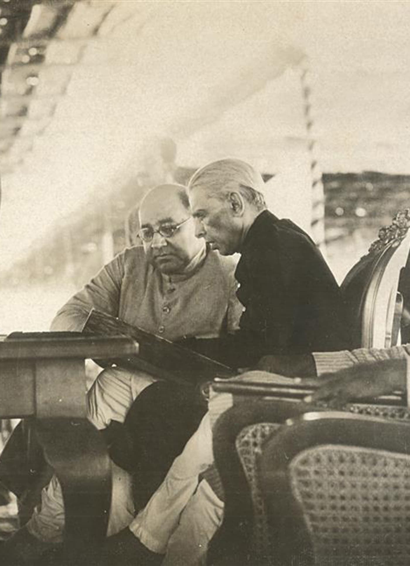 Quaid-i-Azam Mohammad Ali Jinnah and Nawabzada Liaquat Ali Khan consult on national policy in the early days of Pakistan. — Courtesy Lahore Museum Archives