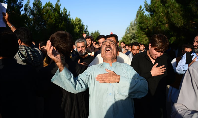 Afghan protesters shout slogans against the militant Islamic State group following a suicide attack targeting a Shia mosque that killed 33 people in Herat on August 2. ─ AFP