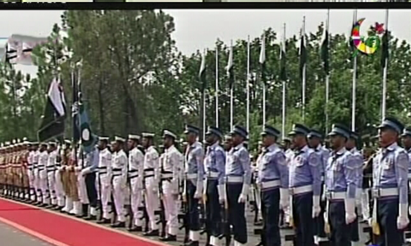 PM Abbasi inspects the parade.— DawnNews
