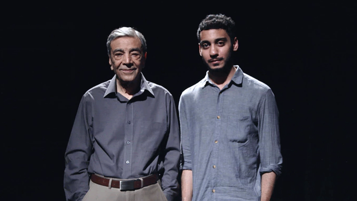 Zia Mohyeddin and the director Umar Riaz — Photo courtesy Umar Riaz