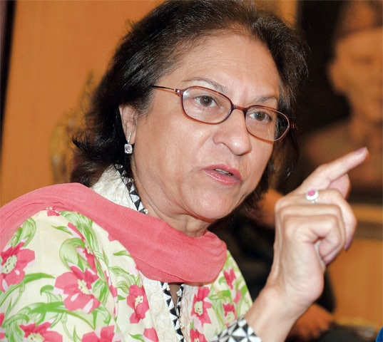SENIOR lawyer Asma Jahangir poses a rhetorical question on Thursday: how the judges would feel if ISI and MI members were included in the Supreme Judicial Council.—Ishaque Chaudhry / White Star
