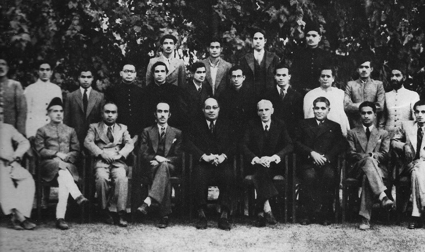 Quaid-i-Azam Mohammad Ali Jinnah and Nawabzada Liaquat Ali Khan with the staff of Dawn Delhi. — Courtesy Altaf Husain Archives & Dawn/White Star Archives