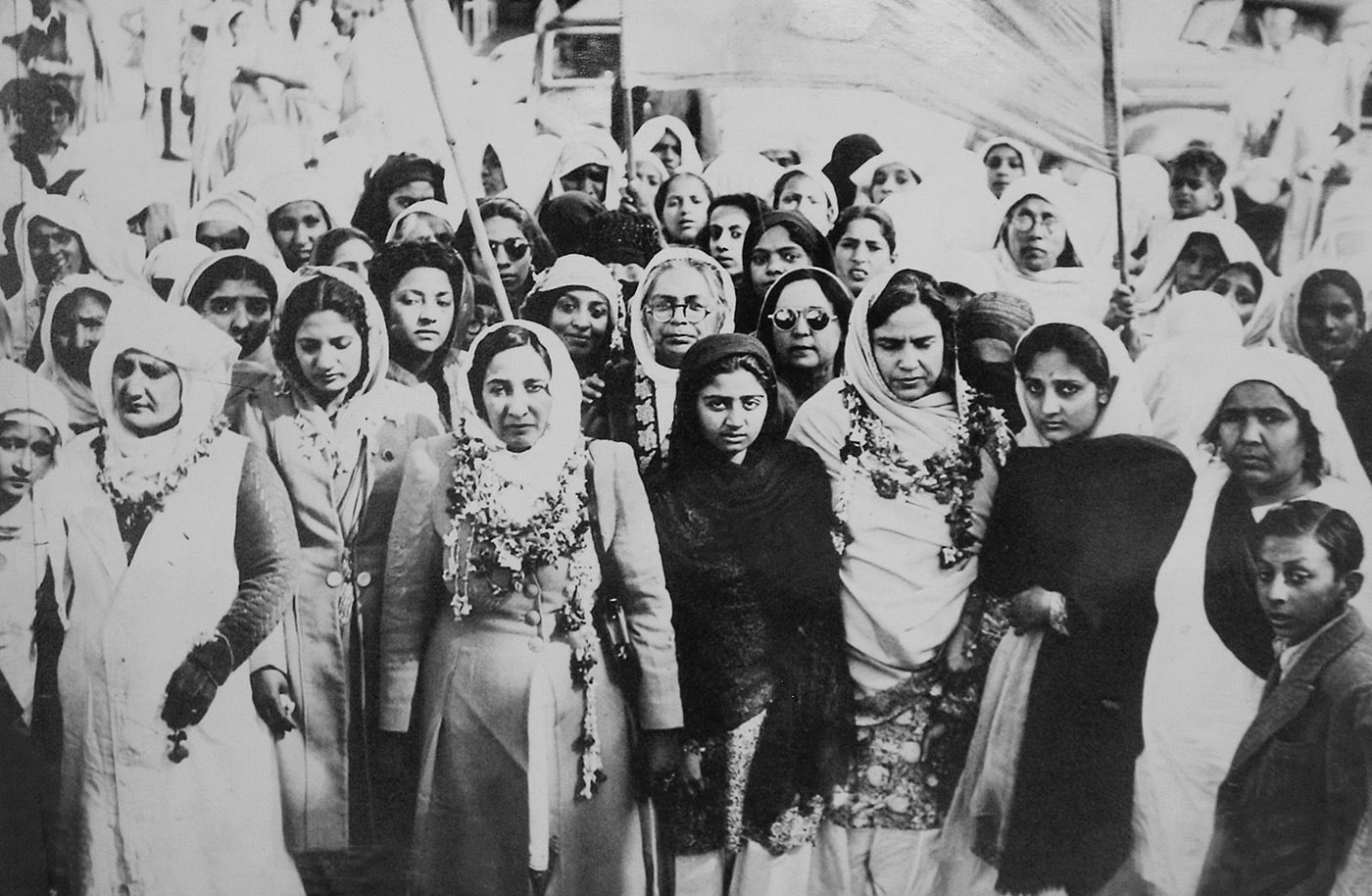 Women leaders of the Muslim League are released from Punjab Jail in March 1947. First row, from left to right: Begum Nasira Kiani, Begum Jahanara Shah Nawaz; second row (behind Begum Shah Nawaz, left to right): Miss Mumtaz Shah Nawaz, Fatima Begum, Dr Hassan Ara Begum and Begum Kamal-ud-din. Begum Salma Tasadduque Hussain stands behind Miss Shah Nawaz. — Courtesy Lahore Museum Archives