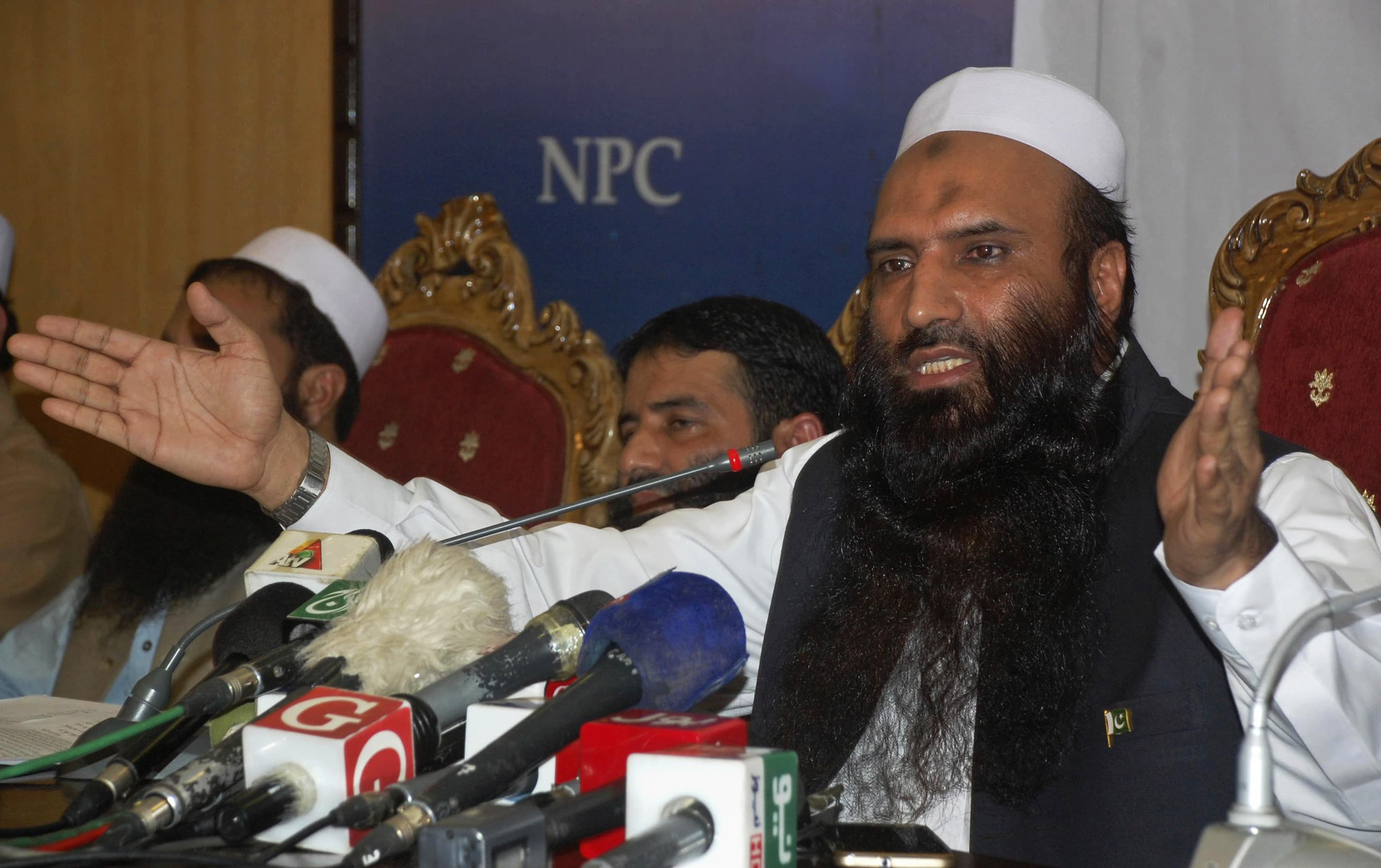 Saifullah Khalid, president of the newly-formed Milli Muslim League party, addresses a news conference in Islamabad. —AP