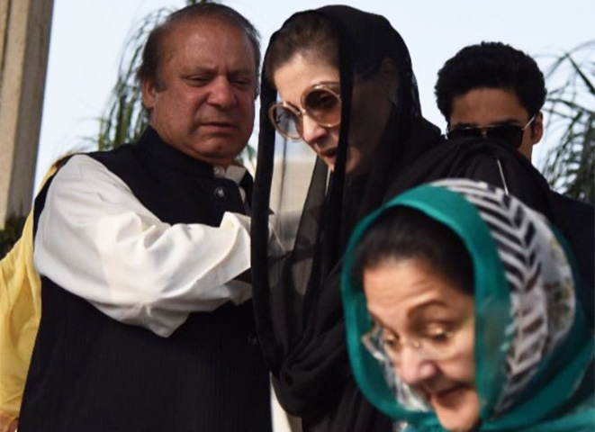 ISLAMABAD: Ousted prime minister Nawaz Sharif sees off his wife, Begum Kulsoom, and daughter, Maryam, as they set off for Lahore.