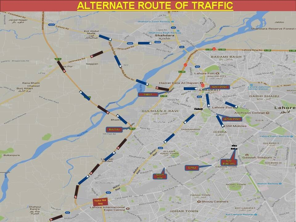Map of Lahore showing alternate traffic routes. ─ Photo courtesy Govt of Punjab official Twitter