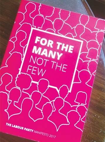 The Labour manifesto carried by Umar Ali, an avid supporter of Corbyn and recent graduate from SOAS, now based in Lahore.—Photo by writer