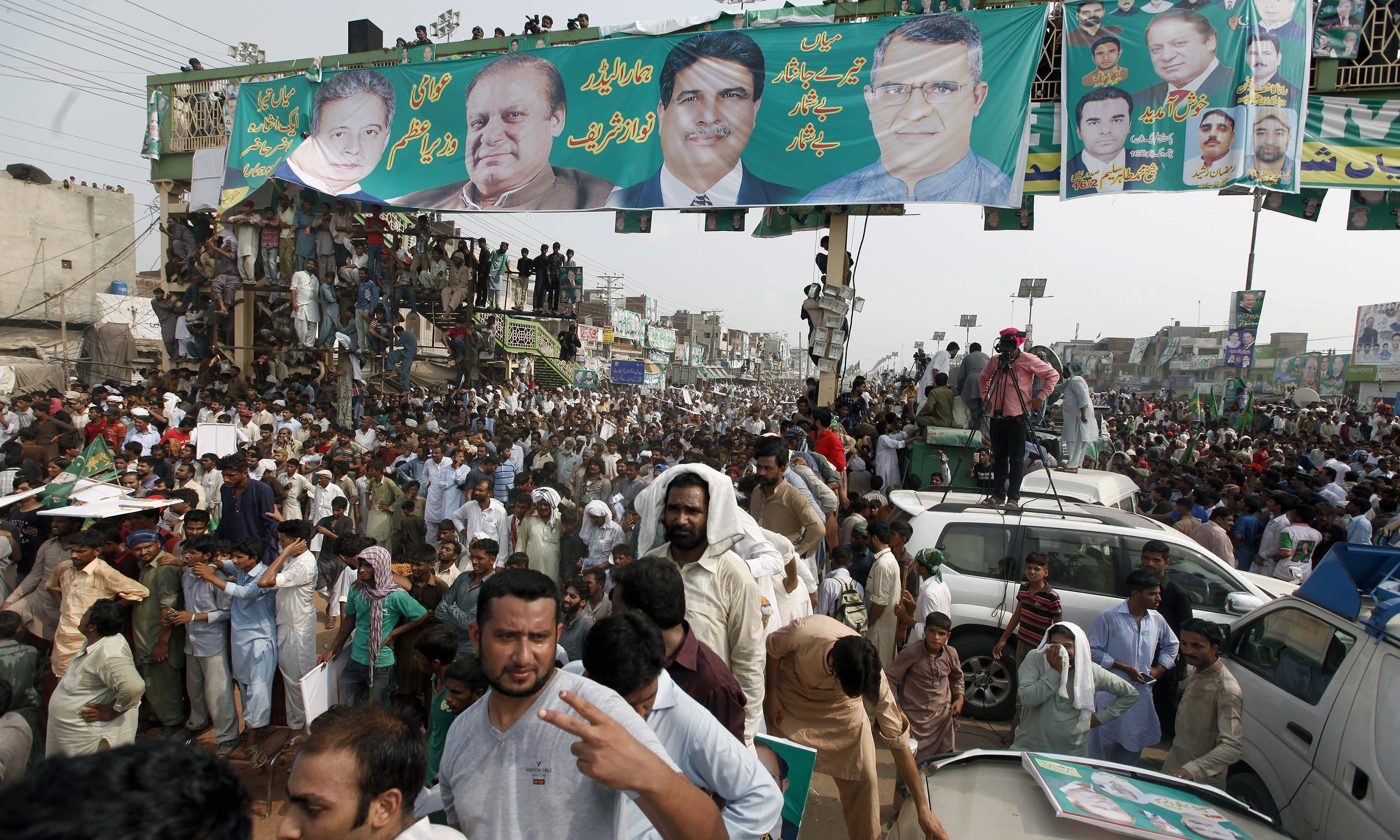PML-N supporters attend the rally in Muridke. —AP