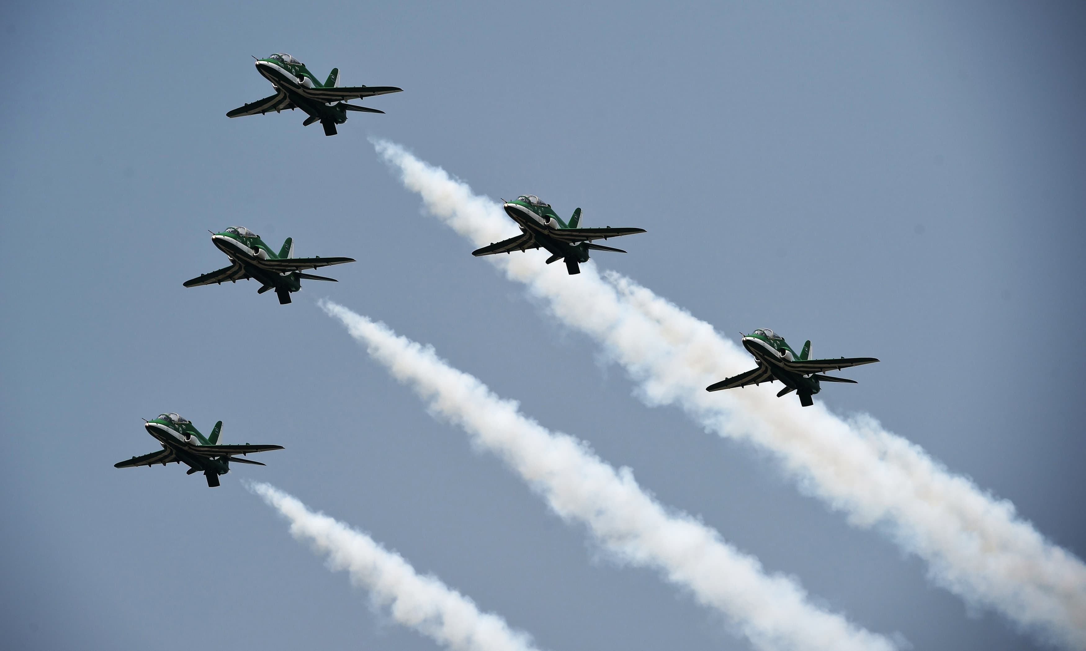 An aerobatic team performs during a rehearsal ahead of Independence day celebrations. —AFP
