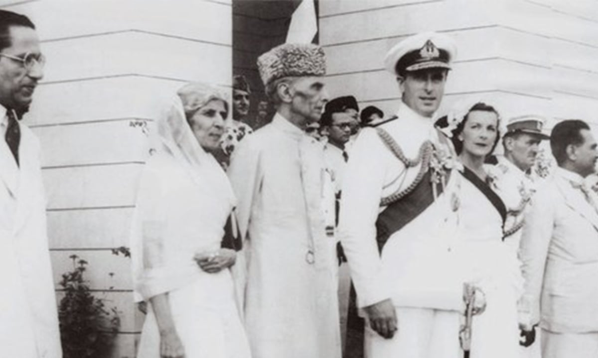 Quaid-i-Azam Mohammad Ali Jinnah, Miss Fatima Jinnah, Lord Louis Mountbatten and Lady Edwina Mountbatten face jubilant crowds as they leave the Constituent Assembly