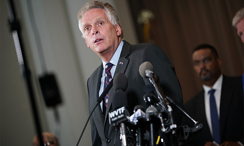 Virginia Gov Terry McAuliffe speaks during a press conference. ─ AFP