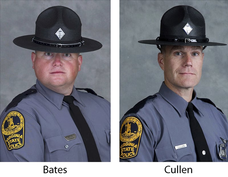 VA Trooper-Pilot Berke M.M. Bates (L), and Lt. H. Jay Cullen (R), who were killed when the helicopter they were piloting crashed. ─ AP