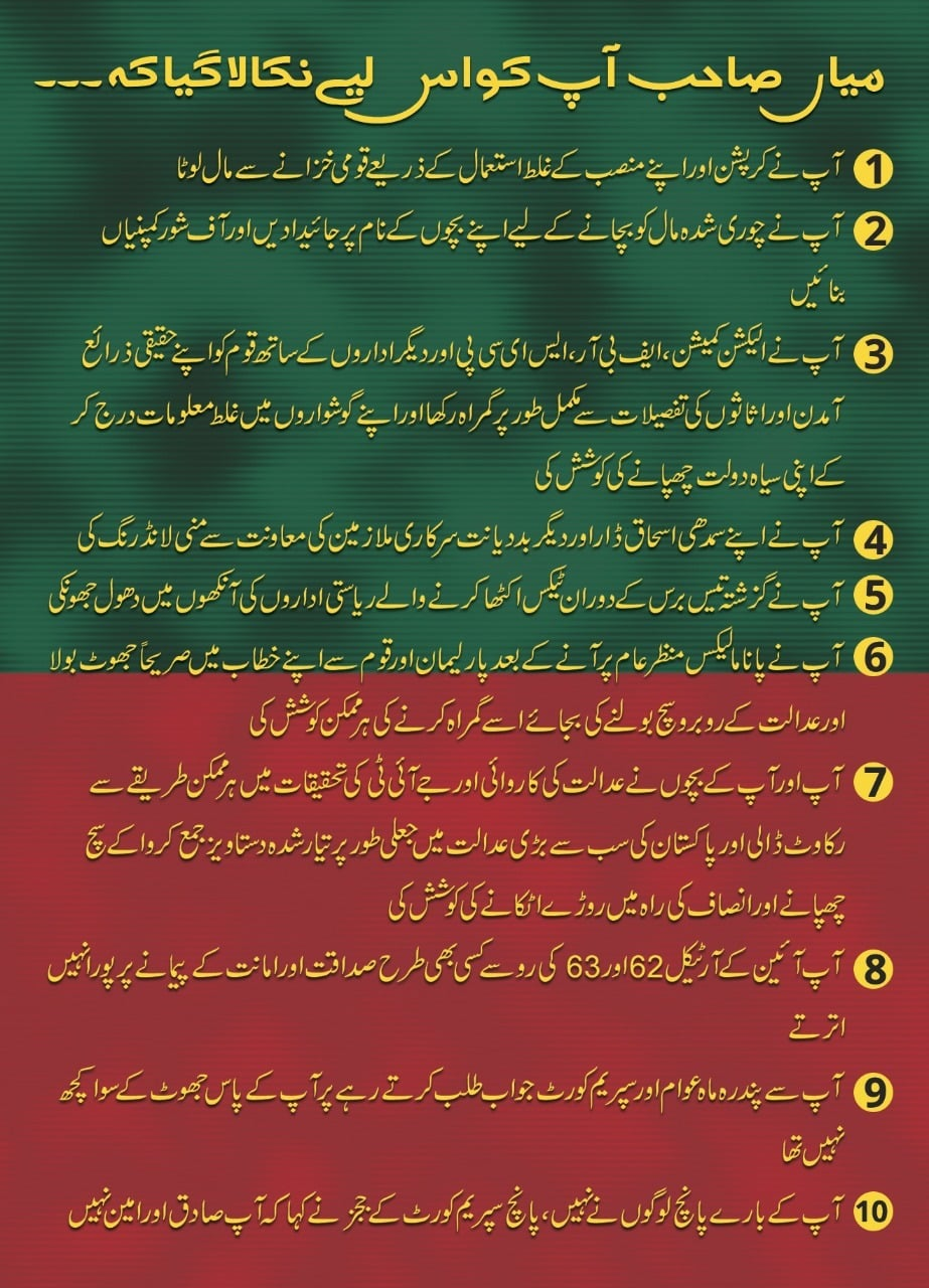 PTI's pamphlet listing down reasons for Nawaz Sharif's disqualification.