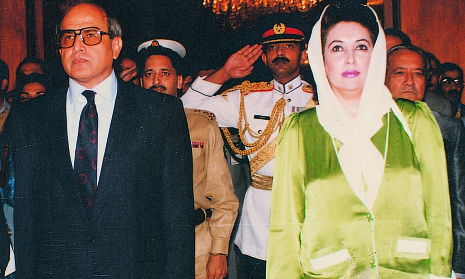 Benazir Bhutto with Farooq Leghari while the two were still on talking terms.─ Dawn/White Star Archives