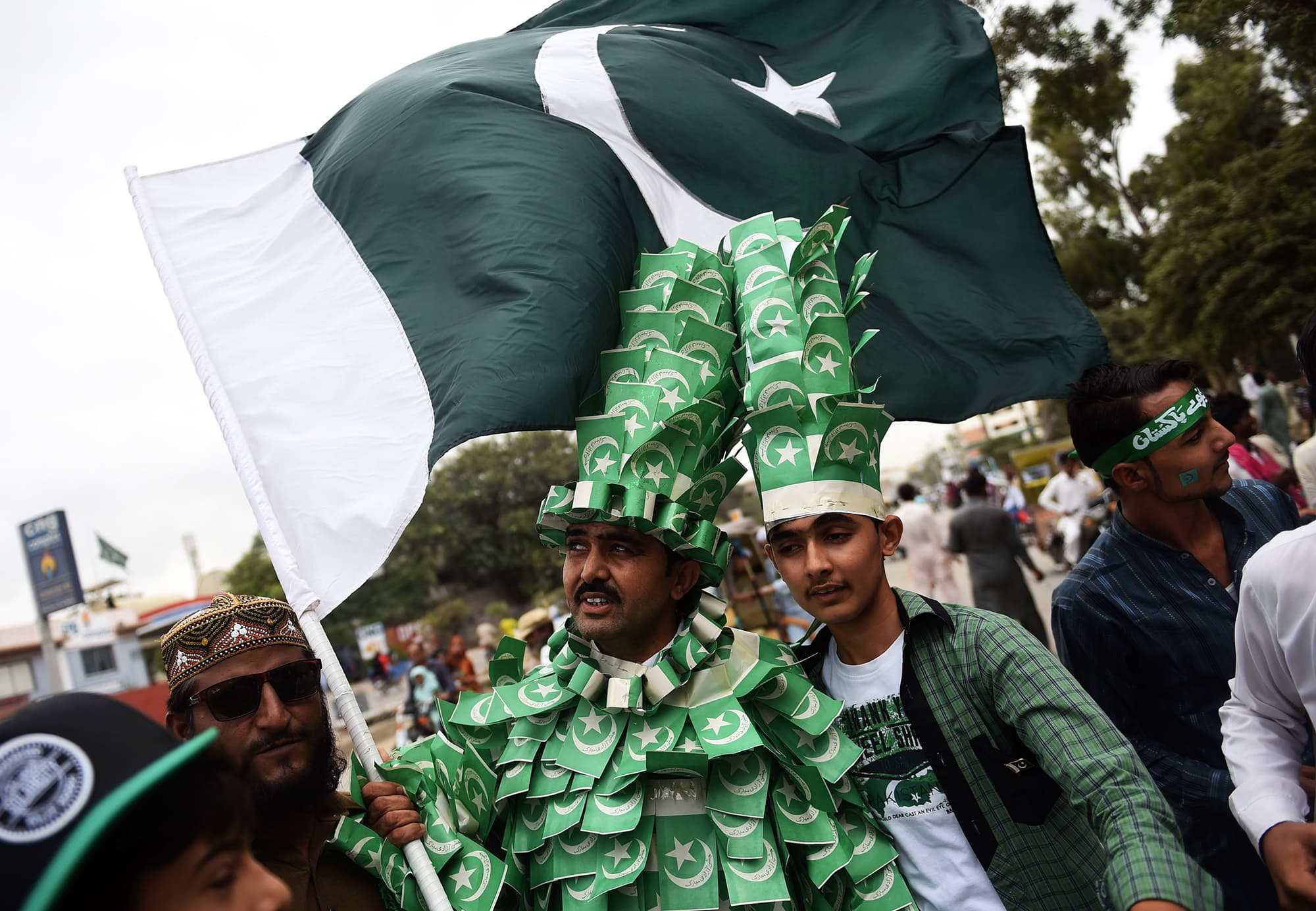 Residents of Karachi march during a rally to mark Independence Day. — AFP