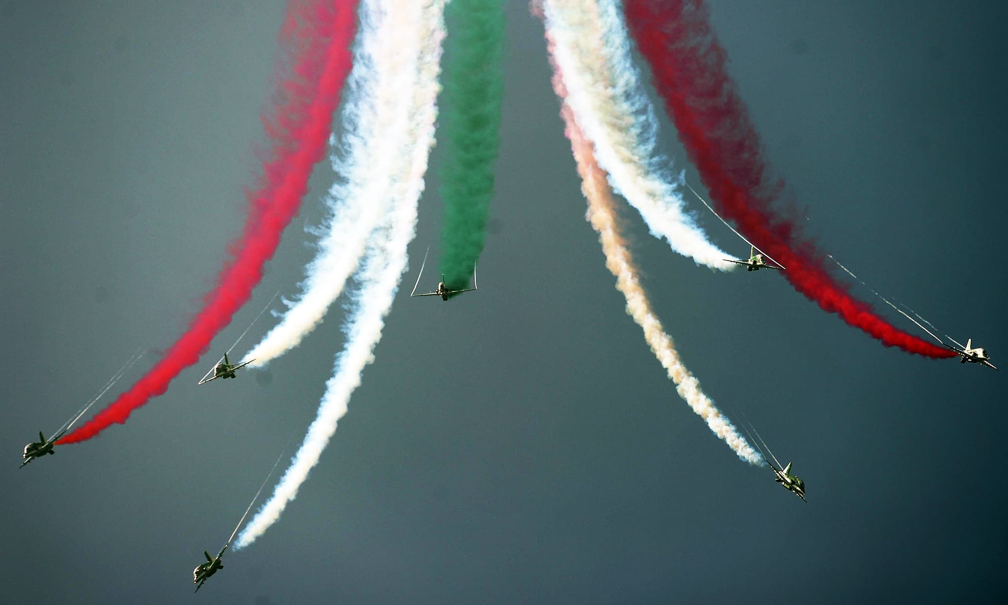 Saudi jets spread beautiful colours in the sky during the airshow. —AFP