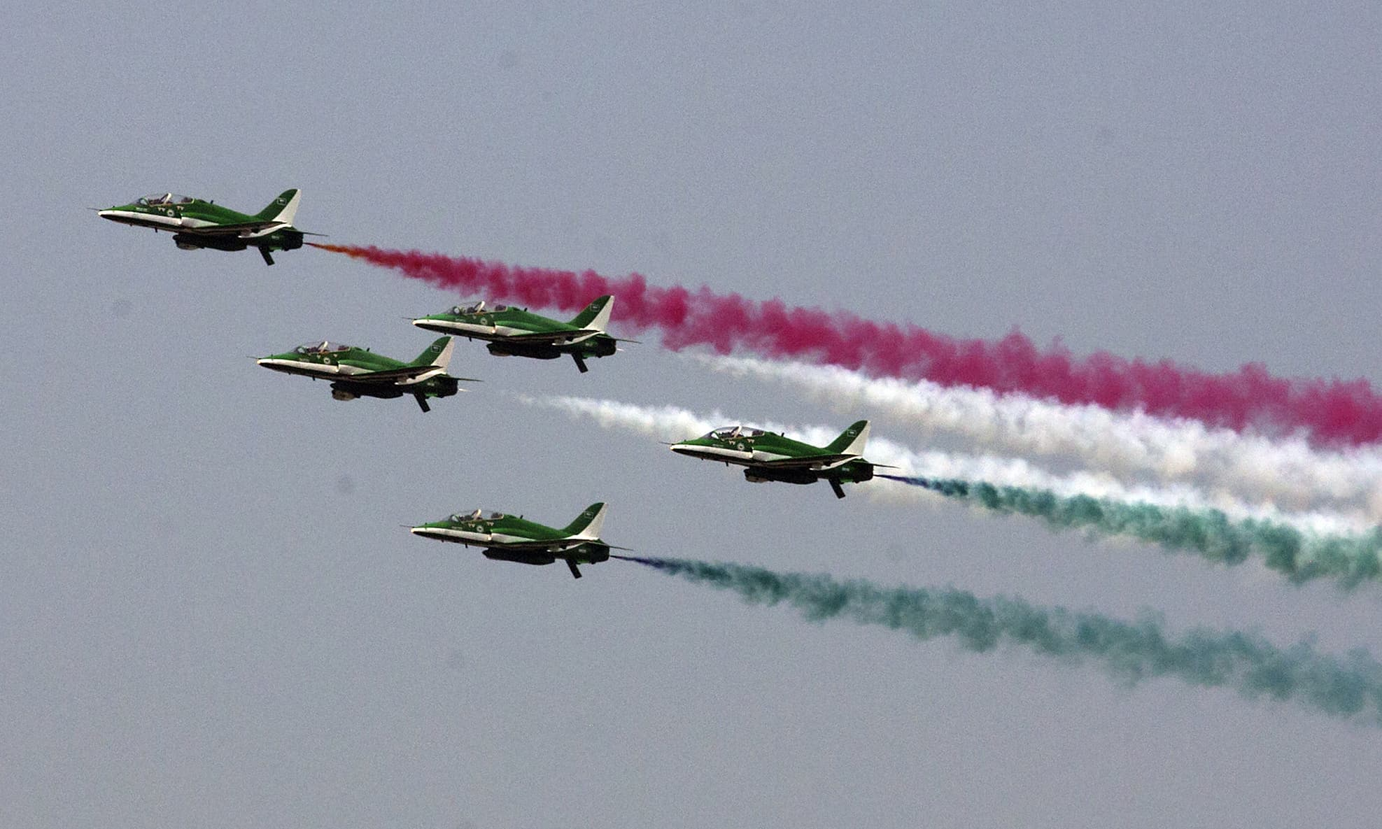 Saudi Hawks pilots demonstrate their skill during the air show. —AFP
