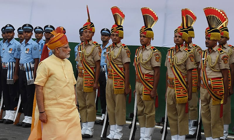 Indian Prime Minister Narendra Modi inspects a guard of honour during the country's 71st Independence Day celebrations, which marks the 70th anniversary of the end of British colonial rule, at the historic Red Fort in New Delhi.─AFP