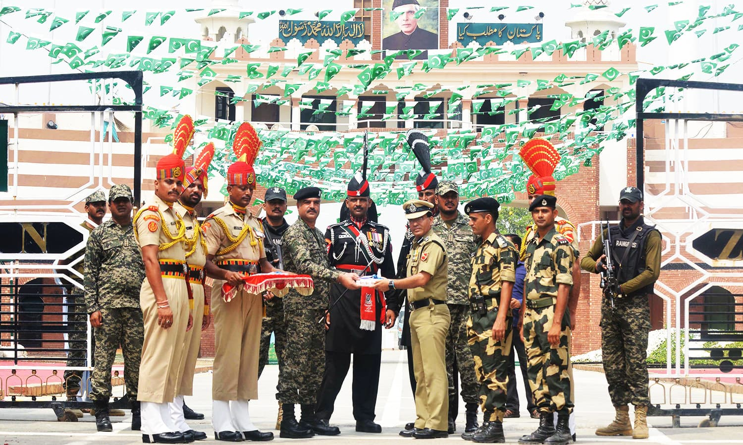 The ceremony was held at the India-Pakistan Wagah border post.— AFP