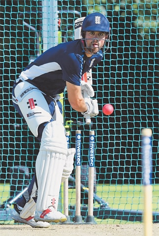 BIRMINGHAM: England opener Alastair Cook bats during a training session on Wednesday.—AFP