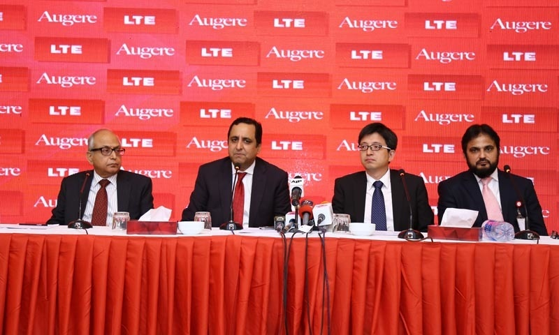 The launch of Augere. L-R: Javed Malik, Director Sales, Augere; Jamal Nasir Khan, CEO, Augere; Lixin Sun, Chairman and CEO, Baicells Technologies and Imran Zafar, CFO, Augere.