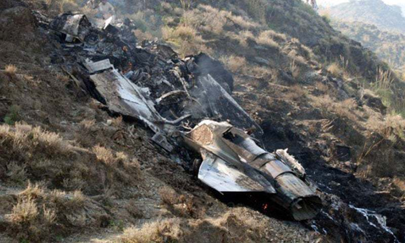 The wreckage of the PAF jet which crashed on Thursday is seen.— DawnNews
