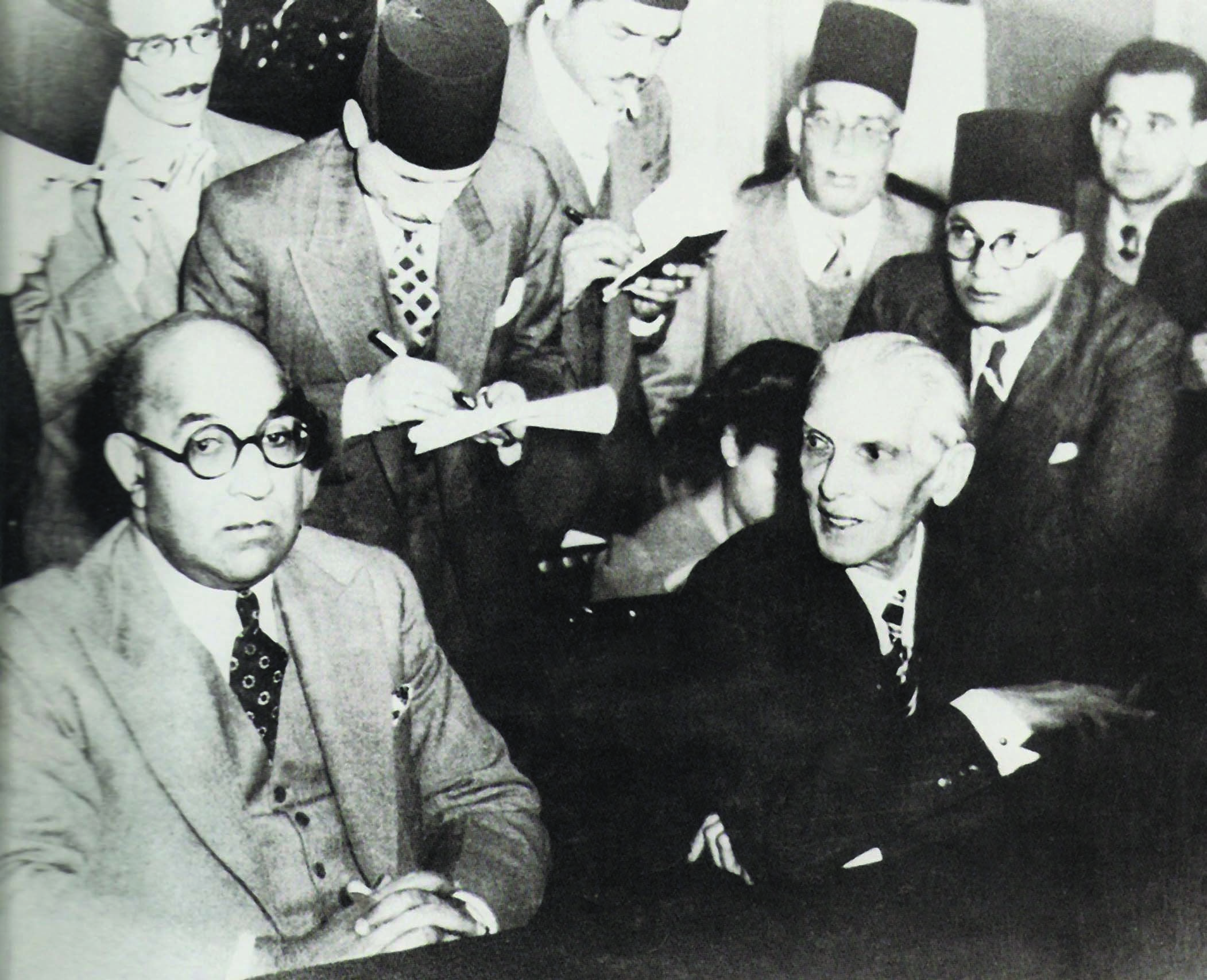 Quaid-i-Azam Mohammad Ali Jinnah and Nawabzada Liaquat Ali Khan attend a press conference in Cairo in December 1946. They appeal to the leaders of the Muslim World to support India's Muslims in their struggle for independence. —​ Dawn/White Star Archives