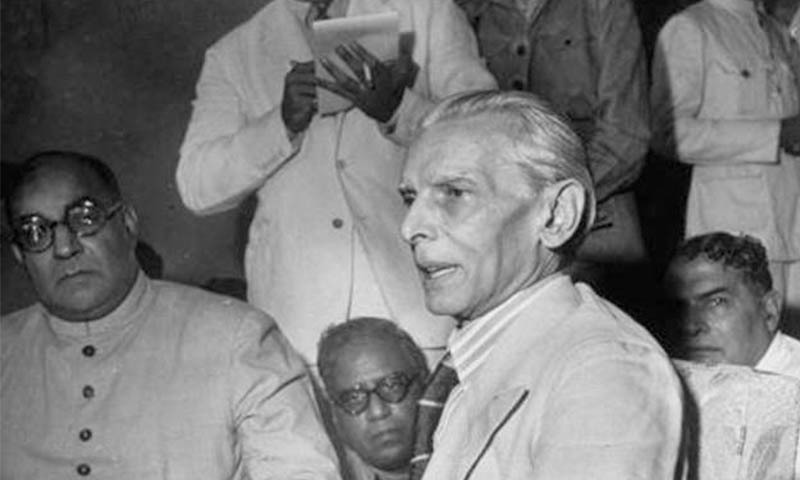 Quaid-i-Azam Mohammad Ali Jinnah and Nawabzada Liaquat Ali Khan are photographed at a  Press Conference following the rejection of the Cabinet Mission Plan by the All-India Muslim League in July, 1946.  —​ Dawn/ White Star Archives, Karachi