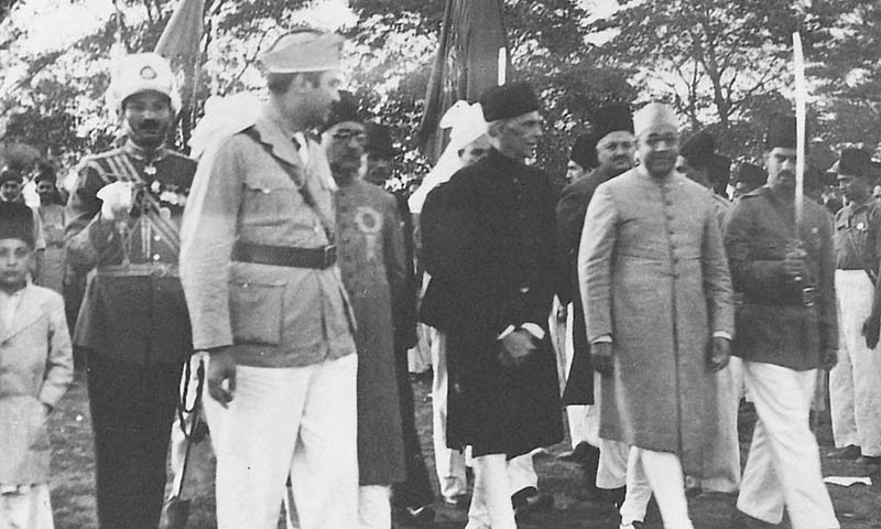 Quaid-i-Azam Mohammad Ali Jinnah and Nawabzada Liaquat Ali Khan arrive at Nawab Mamdot's residence (who is standing behind Mr Jinnah), in March 1940 in Lahore. Mr Jinnah is in Lahore to announce the historic Lahore Resolution.  —​ Courtesy Press Information Department, Ministry of Information Broadcasting and National Heritage, Islamabad