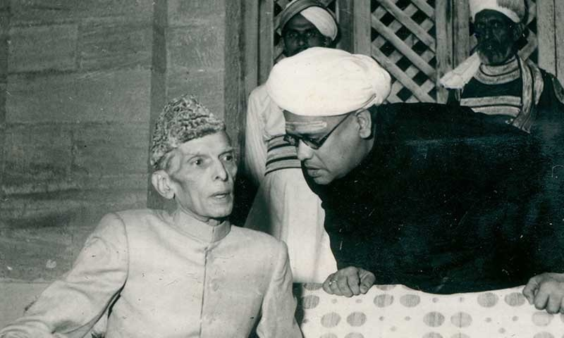 Quaid-i-Azam Mohammad Ali Jinnah is in conversation with Mr Sharma, Editor of the Daily Gazette, in Karachi in 1947. —​ Courtesy Press Information Department, Ministry of Information Broadcasting and National Heritage, Islamabad