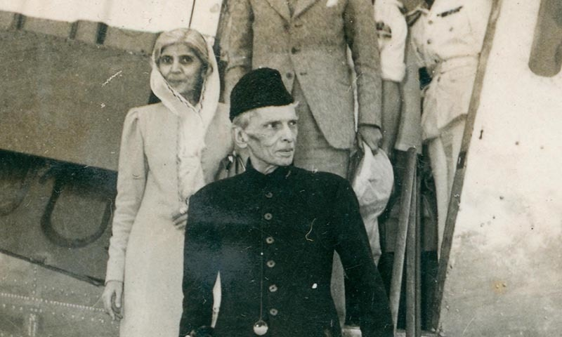Quaid-i-Azam Mohammad Ali Jinnah and Miss Fatima Jinnah arrive at the Risalpur Air Base in April 1948. —​ Courtesy Press Information Department, Ministry of Information Broadcasting and National Heritage, Islamabad