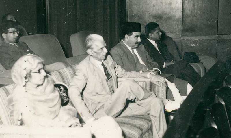 Quaid-i-Azam Mohammad Ali Jinnah, Miss Fatima Jinnah and Sardar Abdur Rab Nishtar watch a documentary at Paradise Cinema, Karachi, in the late 1940s. —​ Courtesy Press Information Department, Ministry of Information Broadcasting and National Heritage, Islamabad