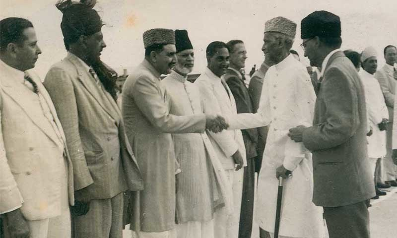 Quaid-i-Azam Mohammad Ali Jinnah shakes hands with Sardar Abdur Rab Nishtar at Mauripur Airport, Karachi upon his return from Quetta in August 1948. To the right of Mr Jinnah is Chaudhry Muhammad Ali, a future Prime Minister of Pakistan. — Dawn/ White Star Archives, Karachi