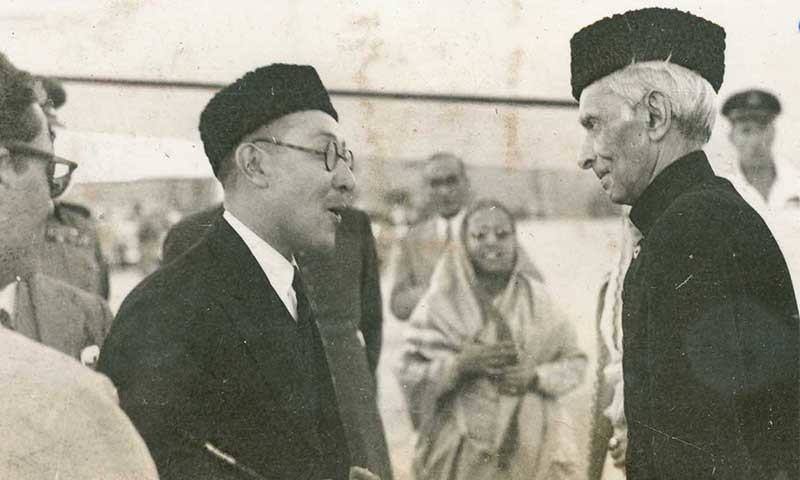 Quaid-i-Azam Mohammad Ali Jinnah greets Mr Hameed, secretary to Sardar Najibullah Towwayana, a member of the Afghan envoy to Pakistan, in Peshawar the late 1940s. — Courtesy Press Information Department, Ministry of Information Broadcasting and National Heritage, Islamabad