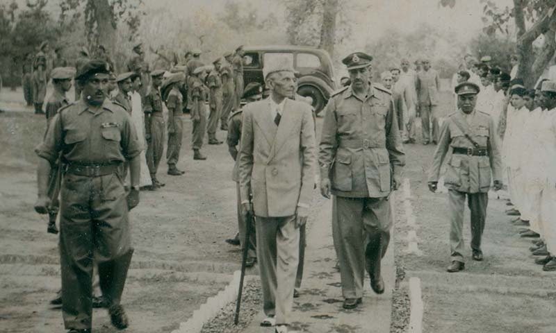 Quaid-i-Azam Mohammad Ali Jinnah inspects the Guard of Honour at an army installation in East Pakistan in April, 1948. — Courtesy Press Information Department, Ministry of Information Broadcasting and National Heritage, Islamabad
