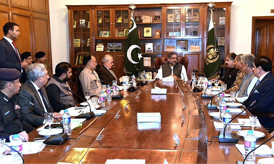 Prime Minister Shahid Khaqan Abbasi chairs a meeting on the security situation in Balochistan. —APP