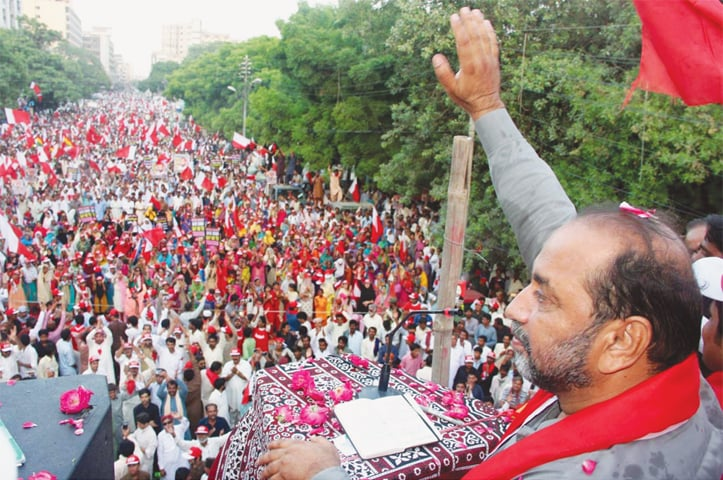 Sindh United Party chairman Syed Jalal Mehmood Shah addresses the participants at the rally organised against corruption on Sunday.—Online