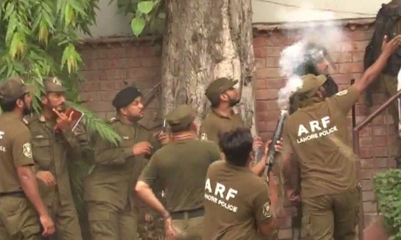 Anti-riot force personnel are seen at the court.— DawnNews