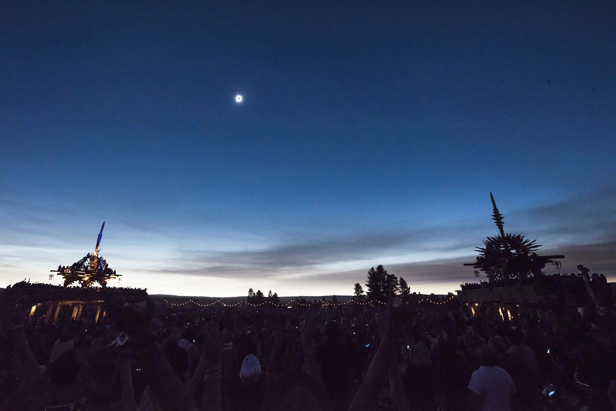 A view of the solar eclipse at the Solar Temples at Big Summit Prairie ranch in Oregon's Ochoco National Forest.—AFP